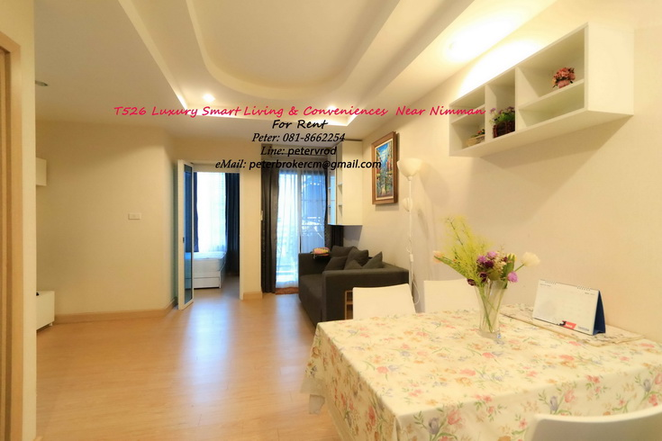 Fully Furnished 50 Sqm Floor 5 , Trams 1 Condo for Rent Near Nimman & Maya