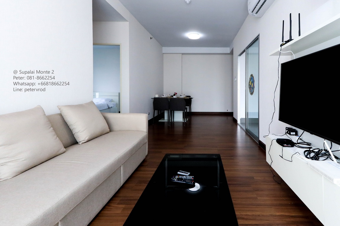 64 Sqm 20 th Supalai Monte 2 Condo Fully furnished Condo for Rent with Internet.